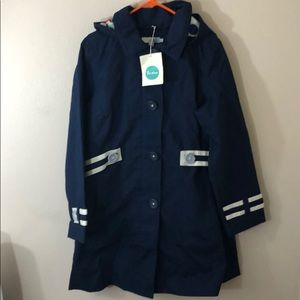 NWT Boden Navy Blue Raincoat beautiful lining
